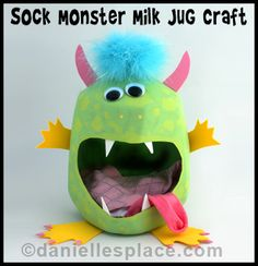 Sock Monster Milk Jug Caddy Craft Kids Can Make from www.daniellesplace.com