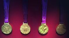 Four copies of the 2012 Olympic and Paralympic victory medals #olympics