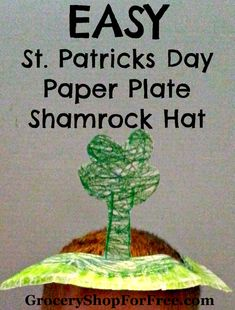 Easy Kid's Craft:  St Patrick's Day Paper Plate Shamrock Hat!