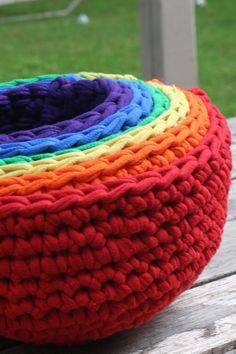 rainbow bowl, crochet with tshirt yarn, crochet upcycl, upcycl tshirt, nest bowl, rainbow nest, crochet nest, crochet bowl, bowls