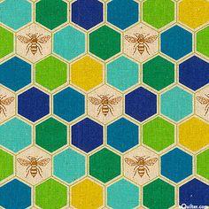 Japanese Import - Echino Decoro Bee - Lt Beige - COTTON/LINEN