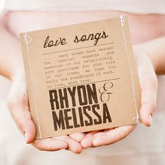 Nothing is more personal than a soundtrack of your love. Custom Mix CDs of the couple's favorite love tunes makes a very meaningful favor | 28 Creative And Meaningful Ways To Add A Personal Touch To Your Wedding