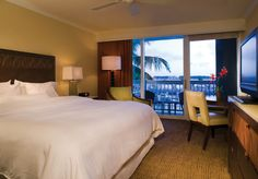 Oceanfront guestroom with kind bed at The Westin Key West Resort & Marina in Key West, Florida. www.westinkeywest... or 866.840.2600 for reservations.