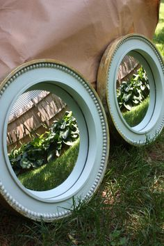 mint and gold mirrors
