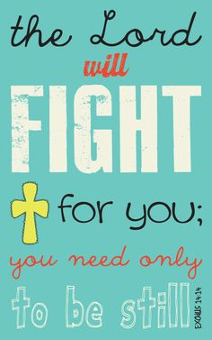 """""""The Lord will fight for you: you need only to be still.""""  Exodus 14:14"""