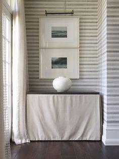 lake geneva, tv cabinets, skirt consol, hickman design, striped walls, hallway, tvs, furnitur, leather