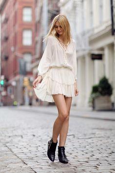 LoveShackFancy ruffle dress, Toga boots, Proenza Schouler wallet, Sol Sana sandals
