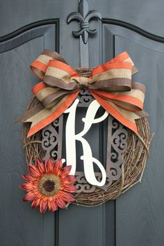 Burlap Wreath - Fall Wreaths for door - Door wreath - Monogram Wreath - Summer Wreath - Door Wreath - Wreaths - Wreath - Wreath for door on Etsy, $59.00