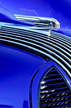 ♂ Blue car details1936 Pontiac Hood Ornament Photograph