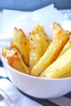 Baked golden brown potato chips! Yum!