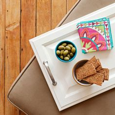 old cabinet door turned into a tray for entertaining