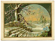 Vintage Winter Clip Art | Vintage Graphic - Winter Landscape - The Graphics Fairy