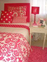 hot pink and white damask dorm room bedding