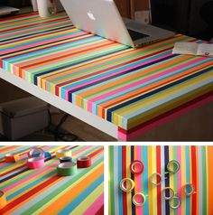 Cool idea for play table decor, wall art, diy ideas, fita adesiva, mesas, color, desk, tapes, masking tape