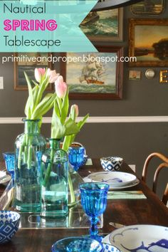 Primitive & Proper: Nautical Spring Tablescape (and West Elm or Target Giveaway from Coupons.com)