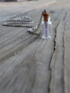 Message In a Bottle Necklace  Antique Silver  by cynicalredhead on Etsy.
