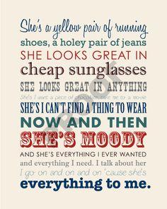 Printable BRAD PAISLEY She's Everything Lyrics by JaydotCreative