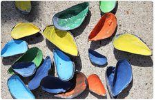 muslingeskaller / painted seashells