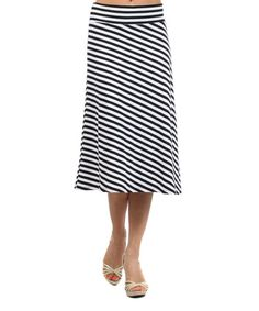 Black & White Stripe Skirt #zulily #zulilyfinds