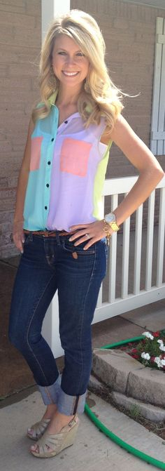 blouses, fashion, day outfits, style, shirts, pastel colors, white jeans, shoe, top