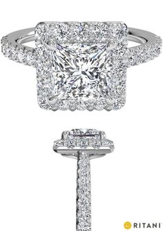 Princess Cut Diamond Halo Engagement Rings by Ritani