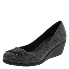 """Update your classic ballet flat with this stylish wedge! It features a round toe, pleated details with buckle accent, jersey lining, breathable insole, 2"""" wedge, and sturdy outsole. The soft footbed boasts a two layer insole. Memory foam, like pillows provided in five-star hotels, absorbs shock, shapes and holds perfectly to cradle the foot for lasting comfort. Latex foam has a premier bouncing nature which provides cushion and a feeling of protection with every step. Manmade materials."""