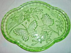 ANTIQUE ART DECO 1930'S 'SOWERBY' GREEN DEPRESSION GLASS 'BUTTERFLIES' TRAY | eBay