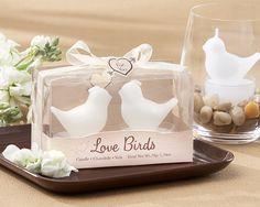 """""""Love Birds"""" White Bird Tea Candle Favor"""