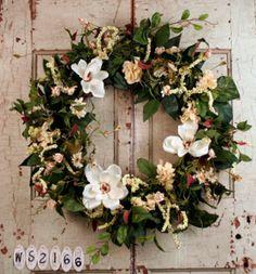 Magnolia Wreath White Front Door Wreaths
