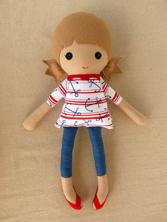 Fabric Doll Rag Doll Sailor Doll Girl in Ponytails. (I have this fabric!)