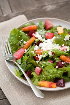 Roasted Root Vegetable Salad with Goat Cheese