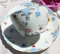 AntiqueLimogesTeacup. FrenchgardenHouse.com hand paint, blue flowers, floral blue, paint jean, tea cup, jean pouyat, blue teacup
