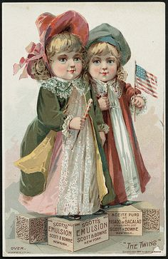 """The Twins"" Scott's Emulsion, Scott & Bowne (front) 19th century trade card."