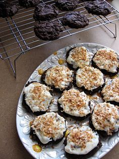 Dark Chocolate Cake Mix Cookies with Cream Cheese Frosting and Toasted Coconut