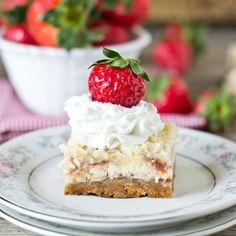 Strawberry Shortcake Cheesecake Bars