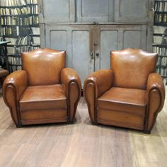 Pair of French Leather Club Chairs | quintessential duckeggBLUE club chairs