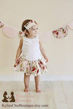 Shabby Chic inspired Scrap Fabric Tutu - first birthday, second birthday, scrap tutu, photo prop