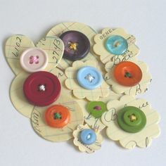 ledger paper flowers and buttons