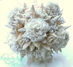 Made to Order Custom Details Bridal Bouquet of Shells and Silk Flowers