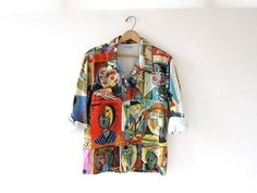 Vintage Picasso Shirt. Colorful Cubism by dirtybirdiesvintage, $40.00