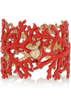 Aphrodite enameled 18-karat gold-plated cuff
