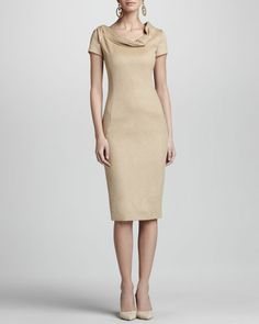 OSCAR DE LA RENTA Cap-Sleeve Fold-Neck Sheath Dress, Camel, very classy
