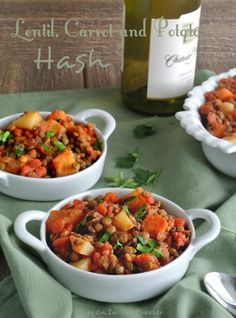 Lentil, Carrot and Potato Hash uses pre-cooked lentils, then everything else is done in one skillet. The textures are varied and the flavors divine. Easy!