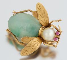 Jade and Pearl Bee Brooch