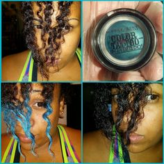 blue streak, hair color, black girl blue hair, black hair blue dye