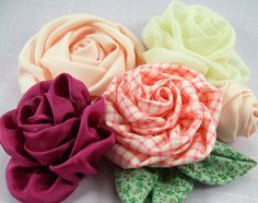 Roses on the Bias Fabric Flower PDF Tutorial by SundayGirlDesigns, $6.00
