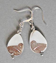 Loon Earrings by  Malynn Wilbur Foster (Skokomish & Squaxin Island Nation)