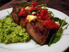 Lamb Chops with Pea Puree