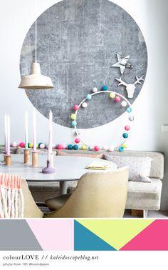 Colour Love // 63 - grey, gray, pink, light pink, teal, yellow, citrus, citron, neon, pink, bright pink, colour, color, palette, christmas, scandinavian, design, dining room, Kaleidoscope Blog
