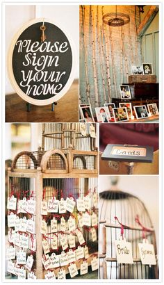 I love the display of pictures.  The tags hang on a vintage bird cage.